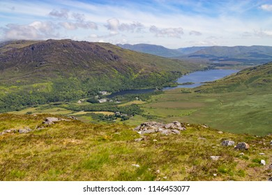 Kylemore lough lake and valley in Letterfrack, Ireland