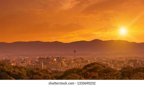 Kyoto city skyline at sunset, view from Kiyomizu-dera temple, Kyoto, Japan