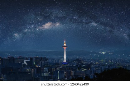 Kyoto city view at night, with starry sky