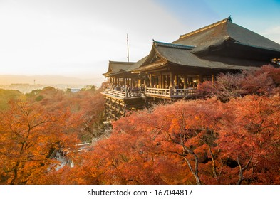 KYOTO - DECEMBER 5: Tourist observe the annual autumn colors at Kiyomizu-dera Temple December 5, 2013 in Kyoto, JP. Founded in the 700's, the present stage structure dates from 1633.