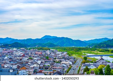 Kyoto Fukuchiyama cityscape with blue sky