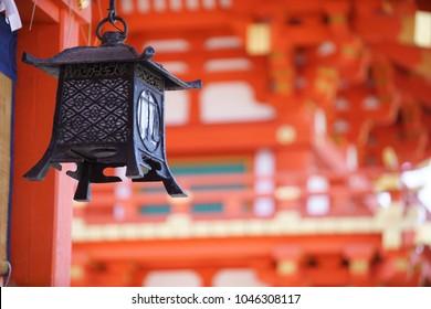 Kyoto, Fushimi Inari Taisha: Red Japanese Gates with Lantern