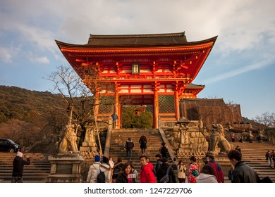 Kyoto January 21, 2018 - Winter : Kyomizu Temple in Winter Season Kyoto Japan. Built in 1633, is one of the most famous landmark of Kyoto with UNESCO World Heritage.