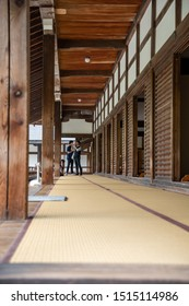 "Kyoto, Japan - 1 July, 2019: A corridor of the Main Hall of Tenryu-ji Temple (""Temple of the Heavenly Dragon"")."