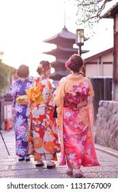 Kyoto, Japan - 19 May, 2018 : Japanese woman dressed in traditional kimono walking in the street in Yasaka Pagoda area in Higashiyama, Gion district Kyoto, Japan