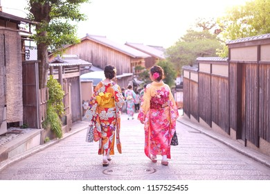 Kyoto, Japan - 19 May, 2018 : Japanese woman dressed in traditional kimono walking in the street in gion area in Higashiyama district Kyoto, Japan