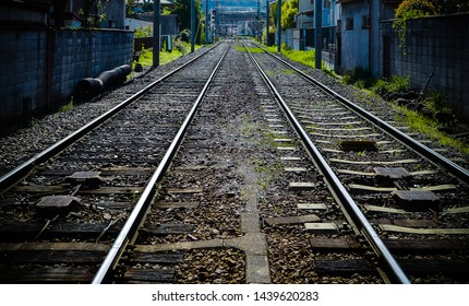 KYOTO, JAPAN, 2019. Railway tracks with leading lines into the distance. Japan 2019