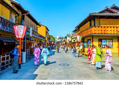 Kyoto, Japan -  30 March 2018 - Old Japanese houses and Gion street of Kyoto, Japan.Gion is Kyoto's most famous geisha district.
