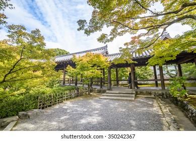 KYOTO, JAPAN - 31 OCT, 2015: Tofuku-ji is a Buddhist temple in Higashiyama-ku in Kyoto, Japan. Tofuku-ji takes its name from two temples in Nara, Todai-ji and Kofuku-ji.