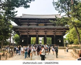 Kyoto, Japan, 31st, May, 2017. The temple at the Nara Park. Nara Park is a public park located in the city of Nara, Japan, at the foot of Mount Wakakusa.