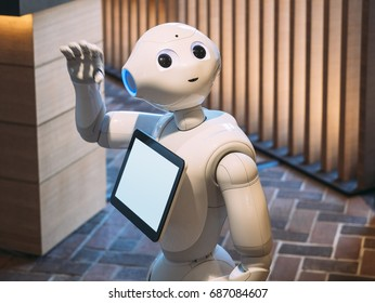KYOTO, JAPAN - APR 14, 2017 : Pepper Robot Assistant with Information screen at Tsutaya shop Tourism Japan