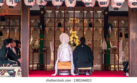 Kyoto / Japan - April 03, 2015: Image of a couple getting married in Kyoto