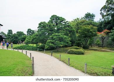 KYOTO, JAPAN - April 19 , 2014 : Japanese Garden at Nijo Castle in Kyoto, Japan