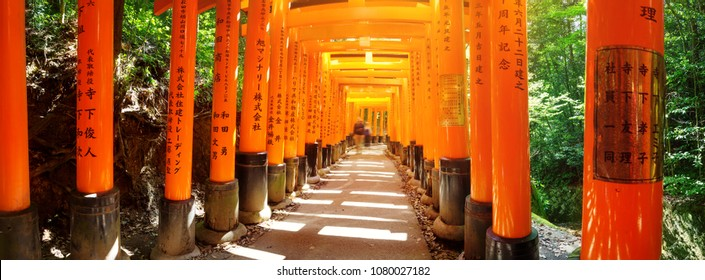 KYOTO, JAPAN - APRIL 19: View to Torii gates in Fushimi Inari Shrine on April 19, 2018 in Japan. Famous place in Kyoto, Japan