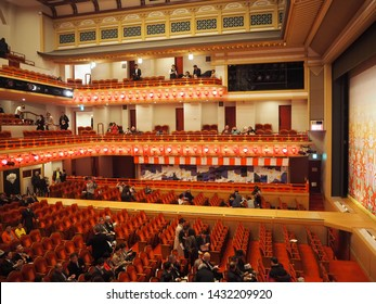Kyoto, Japan, April 2, 2019. Interior of Kabuki Theatre Building at Gion District, Kyoto, Japan