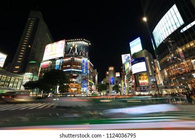 Kyoto, Japan - April 22, 2018: Busy Shibuya Crossing in Tokyo, Japan. Shibuya Crossing is one of the most popular landmarks of Tokyo.