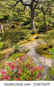 KYOTO, JAPAN - APRIL 26th  : Pink azaleas,  pond and pine trees in the Japanese garden of Ginkakuji Temple, Kyoto, Japan on 26th April 2014.
