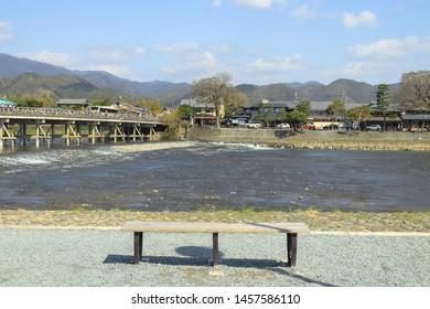 Kyoto, Japan - April 8, 2019 : Clear water, bright weather at Katsura river on the morning in Arashiyama, Kyoto.