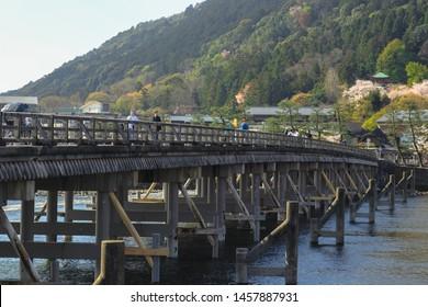 Kyoto, Japan - April 8, 2019 : Togetsu-kyo bridge is a bridge that crosses the Katsura river in Arashiyama, Kyoto.