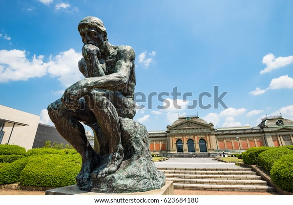 KYOTO, JAPAN - AUGUST 13, 2016: The Thinker statue in Kyoto National Museum.