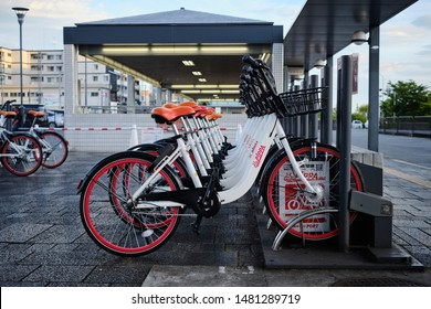 Kyoto / Japan - August 5th 2019: A rank of bikes, part of the PiPPA share rental bike service in Kyoto.