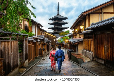 Kyoto, Japan Culture Travel - Asian traveler wearing traditional Japanese kimono walking in Higashiyama district in the old town of Kyoto, Japan.