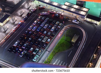 KYOTO, JAPAN - DECEMBER 08, 2015: The top view of cars parking in Kyoto, Japan.