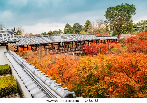 Kyoto, Japan - December 1, 2016 : Tofukuji temple with autumn maple