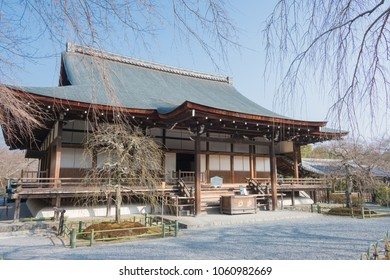Kyoto, Japan - Feb 24 2018: Tenryu-ji Temple in Kyoto, Japan. It is part of Historic Monuments of Ancient Kyoto (Kyoto, Uji and Otsu Cities), a UNESCO World Heritage Site.