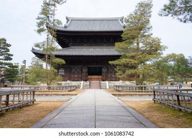 Kyoto, Japan - Feb 25 2018: Myoshin-ji Temple in Kyoto, Japan. a head temple of the associated branch of Rinzai Zen Buddhism.