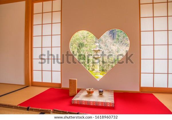 Kyoto, Japan - January 15th 2020 : The heart shaped window at Shojuin