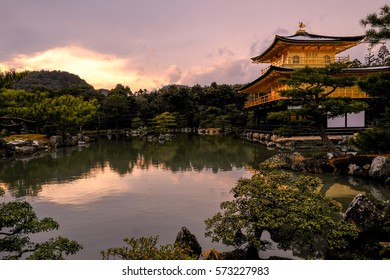 Kyoto, Japan- January 20, 2017: an early winter at Rokuon-Ji Temple on Januari 20,2017. This temple also known as The Golden Pavilion.It's very popular amongst tourists.