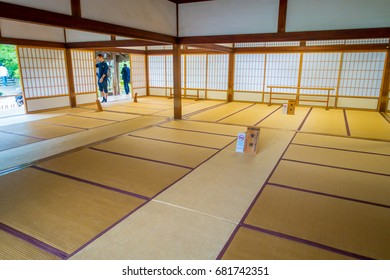 KYOTO, JAPAN - JULY 05, 2017: A room covered with tatami mat at Tenryu-ji on in Kyoto