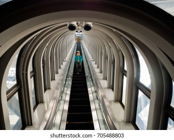 KYOTO, JAPAN - JULY 05, 2017: View of the spectacular escalator in Umeda Sky Building, a modern high rise skyscraper in the Kita district of Osaka