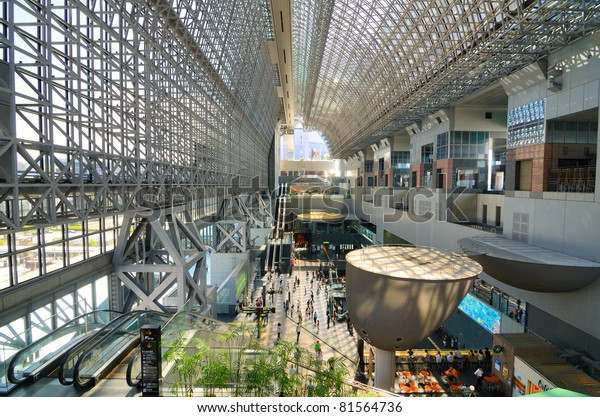 KYOTO, JAPAN - JULY 11: Kyoto Station is Japan's 2nd largest train station and its futurism architecture opened amid controversy in 1997 in the otherwise historical city July 11, 2011 in Kyoto, Japan.