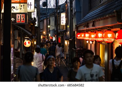 KYOTO, JAPAN - JULY 18, 2016: Pontocho district in Kyoto. Pontocho is famous for the preservation of forms of traditional architecture and entertainment.