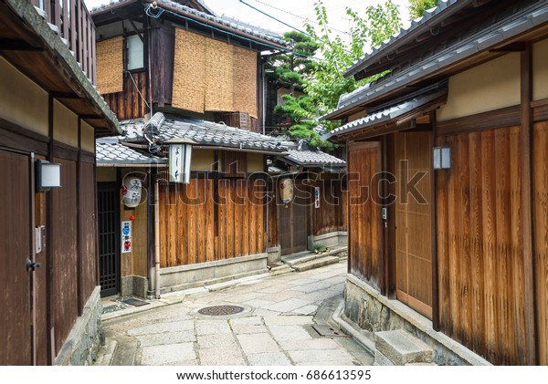 KYOTO, JAPAN - JULY 19, 2016: Historical alley, Ishibe-koji in Kyoto.