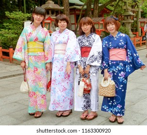Kyoto Japan - July 23,2013 four young women dressing traditional kimono japanese