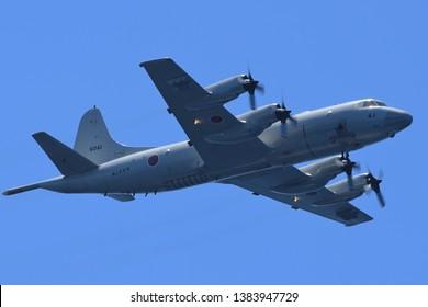 Kyoto, Japan - July 25, 2014:Japan Maritime Self-Defense Force Lockheed Martin P-3C Orion anti-submarine and maritime surveillance aircraft.