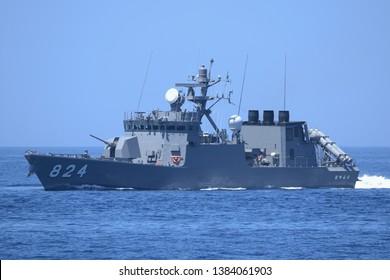 Kyoto, Japan - July 25, 2014:Japan Maritime Self-Defense Force JS Hayabusa (PG-824), Hayabusa-class guided-missile patrol boats.