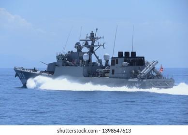 Kyoto, Japan - July 25, 2014:Japan Maritime Self-Defense Force JS Umitaka (PG-828), Hayabusa-class guided-missile patrol boats.