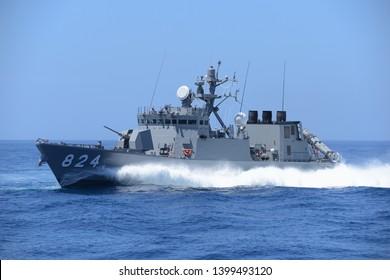 Kyoto, Japan - July 25, 2014:Japan Maritime Self-Defense Force JS Hayabusa (PG-824), Hayabusa-class guided-missile patrol boat.