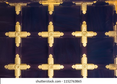 KYOTO, JAPAN- JULY 6, 2018: Close up view of gold painted carved wooden ornaments of the entrance gate to Nijo castle in Kyoto, Japan.