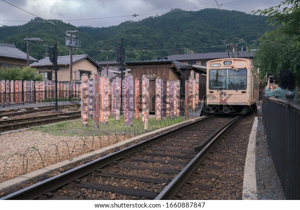 Kyoto, Japan - Jun 12, 2019: Kimono Forest at Arashiyama, Kyoto, Japan