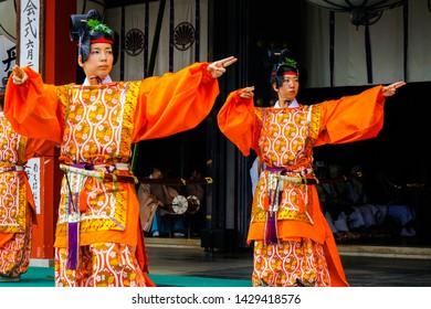 Kyoto, Japan - June 20, 2016: Traditional Japanese Kagura dance performed during Takekiri eshiki ceremony held at Kurama dera buddhist temple on the sacred mount Kurama in the north of Kyoto.