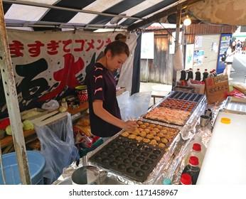 Kyoto, Japan - June 20,2018 : Fish shop on the sidewalk in Arashiyama, Kyoto, Japan