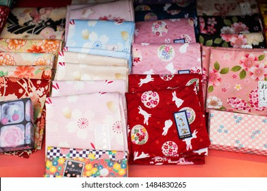 Kyoto, Japan - June 26, 2019: japanese handkerchief that are really great like souvenirs and gifts