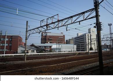 KYOTO, JAPAN - Mar 30,2017: Train overhead line for pantograph.