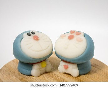 Kyoto, Japan - March 11, 2019: wagashi traditional Japanese sweets in a shape of famous anime character Doraemon, robot cat