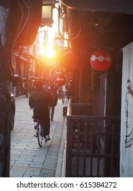 KYOTO, Japan - MARCH 30TH 2017.  man rides a bicycle on street at gion,kyoto